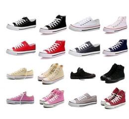 Altos tops hombres 45 en venta-2016 de alta calidad clásico del Bajo-Top del alto-top de lona zapatilla de deporte de los calzados informales de los hombres / de los zapatos de lona de las mujeres al por menor tamaño EU35-45