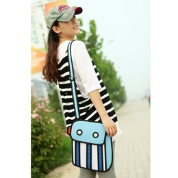 Wholesale Fashion D Bags Novelty comic jump From Paper Cartoon Bags D Drawing Cartoon Comic Handbag Lady Shoulder Bags Carry in Space