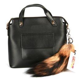 Promotion chaîne grand sac URSFUR Oussouri Raccoon Tail avec porte-clés Natural Color Grand 11