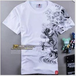 2015 summer Carp tattoo print men's short sleeve T shirt o neck T-shirt plus size M-XL white tops