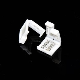 Wholesale 10pcs pin mm width connector for RGBW leds m led strip light with white shell Retail