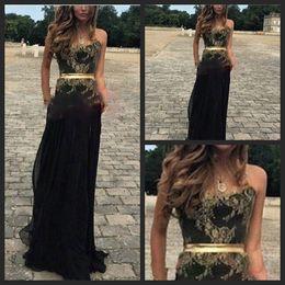Vestido Formatura Elegant Prom Dresses Sexy Strapless Gold Lace Maternity Black Chiffon Long Evening Party Dress
