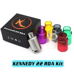 Wholesale KENNEDY RDA Kit Rebuildable Atomizers Extra Glass Tube Wide Bore Drip Tip mm Post Holes Adjustable Airflow PEEK Insulator Mods DHL Free