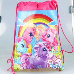 20pc lot cartoon children school bags Cartoon Drawstring bag mohila shopping birthday party bag 4 design C2.4