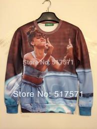 """w1217 Woman man Rihanna """"Fukk OFF"""" 3D Realistic Print Sweatshirt Hoodie Jumper Tops"""