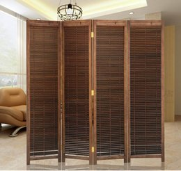 Wholesale Oriental Japanese Style Panel Wood Folding Screen Room Divider Home Decor Decorative Portable Asian Furniture Brown Finish