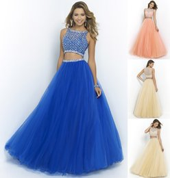 Wholesale 2015 Sexy Blue Two Pieces Prom Dresses Cheap High Neck Beading Tulle Sheer Evening Gowns Formal Prom party Beauty Queen Pageant Dress A Line