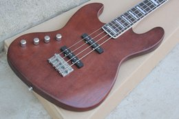 New Brand Factory Customized Left-hand Electric Bass with Reddish Brown Body,20 Frets and Can be Changed