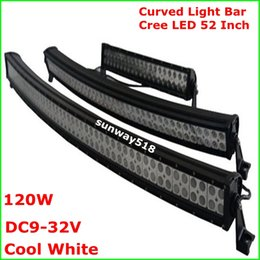 Wholesale 52 W Cree Curved LED light bar spot flood Combo beam roof front driving lamps ATVs Truck SUV offroad boat fog lamps