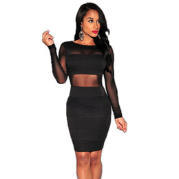 Wholesale- Hot sale Mesh patchwork dress Long Sleeve Sexy club dress 2016 Plus Size Black Bodycon dress Ohyeah New arrival Club wear