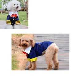 2017 fuentes del perro muelles Ropa de fiesta hermoso por un traje azul marino de algodón Perros Pet Bowtie Ropa Suministros Primavera Otoño mascotas descuento fuentes del perro muelles
