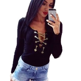 Wholesale Ladies Short Chain Designs - Spring 2016 New Sexy Plunging Neck Long Sleeve Jumpsuit Chain Design Bodycon Ladies Romper Lace Up Bandage Bodysuit Playsuit Top
