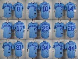 Wholesale Chicago Cubs Jersey Anthony Rizzo Jon Lester Ryne Sandberg Kris Bryant Ron Santo Blue Strips Baseball Jersey