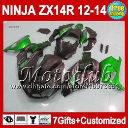 7gifts Green black For KAWASAKI 12-13 NINJA ZX-14R 12 13 12 13 ZX14 R 25C182 Flat black ZX 14R ZX14R 2012 2013 2012 2013 ZX 14 R Fairing