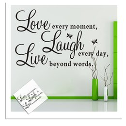Wholesale Love Every Moment Wall Stickers Quote Letters Words Removable Family Wall Vinyl Decal Room Home Art Decor
