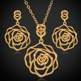 Rose Flower Pendants Necklaces Drop Earrings Choker Necklace 18K Real Gold Platinum Plated Jewelry Sets Rhinestone