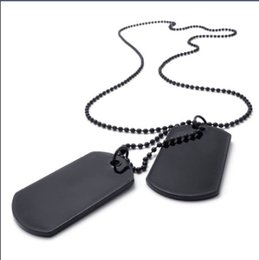 Army Style Dog Tag Cross Pendant Mens Necklace Color Black Silver 24 inch Chain