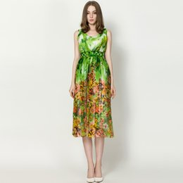 Factory offer Hot Series Fashion Casual Printed Women's Bohemian Dresses Tall Waist Sleeveless Silk Street Style printing flower silk dress