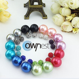 Celebrity Runway Shining Double Side Pearl Earrings Clay Crystal Beads EarringsBall Plug Earrings Ear CC-C Studs