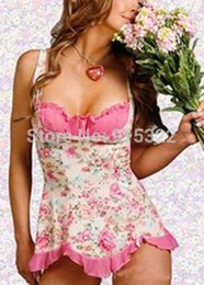 Wholesale Cute Sexy Babydoll - 2014 Women Sexy Cute Pink Floral Lingerie Underwear Babydoll Dress Skirt PajamasFree shipping