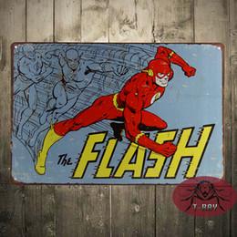 Wholesale The Flash Vtg Retro metal poster TIN SIGN dc comics superhero wall decor