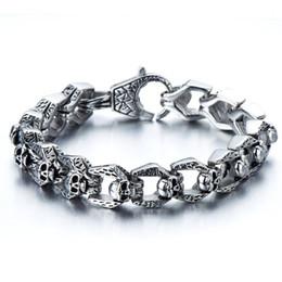 Biker Bracelet Gothic Skull Stainless Steel Bracelet for Men 8.5 Inches Vintage Old Metal Finishing