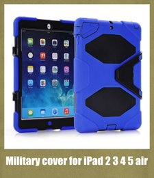 Wholesale apple tablet PC cover for ipad2 ipad air with screen protector military stand case shockproof defender colorful freeshiping PCC001
