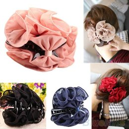 Korean Women's Beauty Chiffon Rose Flower Bow Jaw Clip Barrette Hair Claw Claws 1K6L