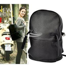 Faux Leather Black Backpack Shoulder Bag School Bag