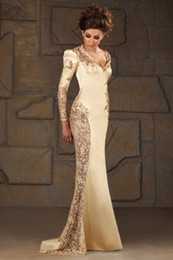 Vintage V-neck Mermaid Satin Long Sleeve Applique Sequin Gold Evening Gowns Formal Modest Mother Of The bride Dress 2014