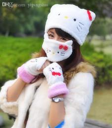 Masque minou à vendre-Gros-Livraison gratuite! Mélanger la conception chapeau d'hiver 3pcs ensembles tricotés chapeau + gaze masque + Gants coton bouchons Cartoon chapeau Bonjour Kitty