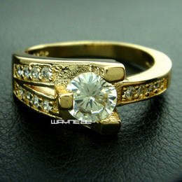 18k gold plated woman Engagement wedding white sapphire ring Sz8 r222