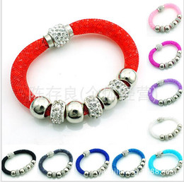 Wholesale Selling mesh made single dust mesh shambhala broken drill bracelet with magnetic buckle bracelet