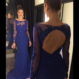 Royal Blue Backless Prom Dresses Jewel Long Sleeve Mermaid Sweep Tarin Formal Party Evening Gowns Custom made