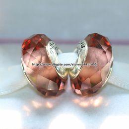 5pcs 925 Sterling Silver Blush Fascinating Murano Glass Beads Fit For Pandora European Charm Braceletse & Necklaces QU001