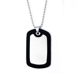 Stainless Steel Black Shiny Name Pendant Charm Gift Army Military Dog Tag Blanks Pendants