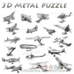 Wholesale Educational D Puzzles Metal Model Military F15 fighter Airplane Apache Helicopter Jigsaw Christmas Gift DIY Toy