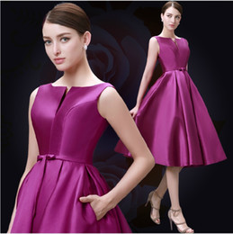 Wholesale 2015 Fashion Plus Size Homecoming Dresses A Line Bateau Lace UP Knee Length Satin Homecoming Parade Prom Party Dress Buy Dress Earn coupon