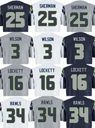 Wholesale Top Quality Wholesales Russell Wilson Richard Sherman Thomas Rawls Tyler Lockett Stitched Jerseys Number Free Drop Shipping