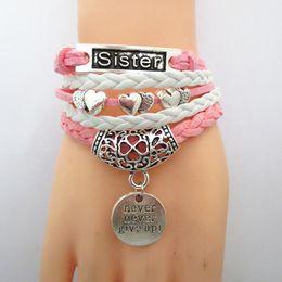 Wholesale Jewelry Bracelets Rope Bracelets Wrap Bracelets Bangle Double Heart Sister Dream Love 3 Style Multilayer
