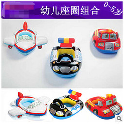 Wholesale DHL Cute Police car aircraft Fire truck Kids Inflatable Toys Seat Children Swimming Life Vest Buoy Inflatable Swimming Ring Boats