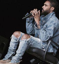 Wholesale-Kanye west brand mean skinny fit Fear of god broken hole damaged Distressed blue jeans deinm biker ripped skinny destroyed pants