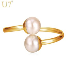 U7 Women Big Pearl Beads Costume Bangle Bracelet Wholesale 18K Real Gold Platinum Plated Fashion Elegant Gold Jewelry 2015 Hot Item 7-H1215