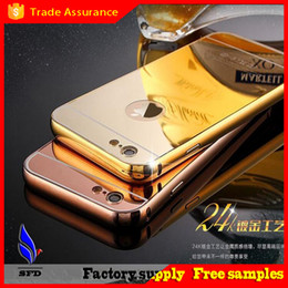 Wholesale Aluminum metal bumper frame case with mirror Back cover for iphone S Plus S4 S5 S6 edege plus note