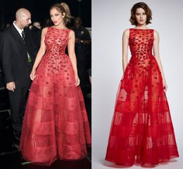 Wholesale 2016 Zuhair Murad Jennifer Lopez Wear Long Red Flared Dress With Embroidered Kisses On lace And Tulle On American Idol Grand Finals Show
