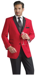 Red and Black 2015 Wedding Suits Custom Made Two Buttons Groom Tuxedos Groomsmen Best Man Prom Formal Suits (Jacket+Pants+Tie+Hanky)