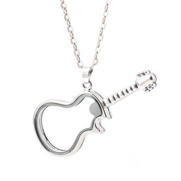 Unique Guitar Shape Glass Floating Charm Lockets Living Photo Memery Charm Lockets Pendant 925 Silver Chain Necklace