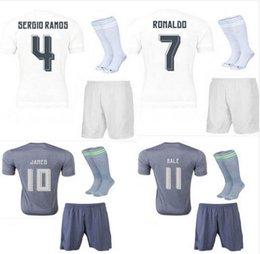 Wholesale Madrid Soccer jerseys Full Sets Embroidery Football Jerseys Socks Ronaldo James Kroos Survetement Football Home Soccer Uniforms