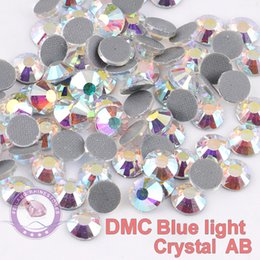 Wholesale Bue Light DMC Hotfix Rhinestones Crystal AB SS6 SS50 Machine Cut Flatback Strass Chaton Stone For Clothes Crafts Decorations
