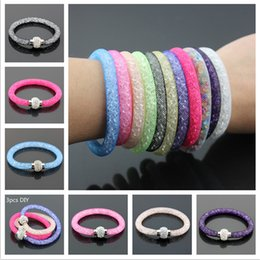 Wholesale Single deck Mesh Network Polymer Clay Crystal Rhinestone Magnetic Buckle Bracelet Unisex Is Colorful Bracelet